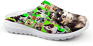 doginthehole Slip Resistant Chef Clog Kitchen Non Slip Work Shoes 3D Printed for Women