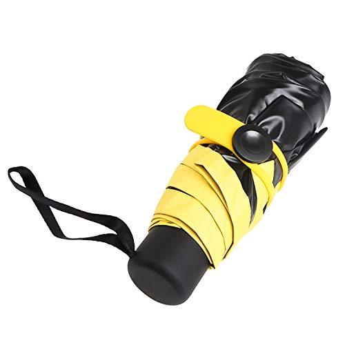 Mini Regenschirm Taschenschirm,Maltsky UV-faltender Sonnenschirm Reiseschirm Golfschirm,Tragbar Klein Leicht Kompakt Wasserdicht Windsicher 99% UV-Schutz für Männer Frauen Kinder (Gelb)