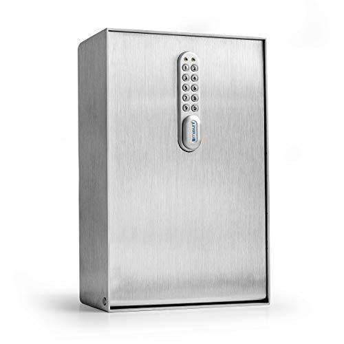 masunt Schlüsselkasten 2125 E Code | Schlüsseltresor mit innovativer Online-Codevergabe aus der Ferne | digitaler Schlüsselsafe aus massivem V2A Edelstahl | maximale Sicherheit | wetterfest | Silber