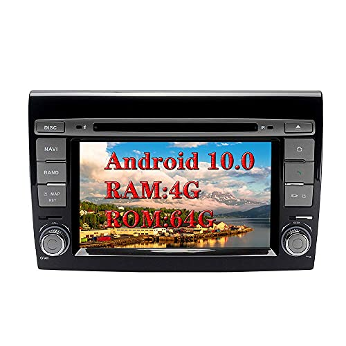 W-bgzsj Android 8.0 In-Dash 2 DIN Car Stereo 7'AUTORADIO 8-Core RAM 4G ROM 32G Head Unit Unit Radio de automóvil Sat Nav COUS GPS Navegación con Reproductor de DVD para FIAT Bravo (2007-2012)