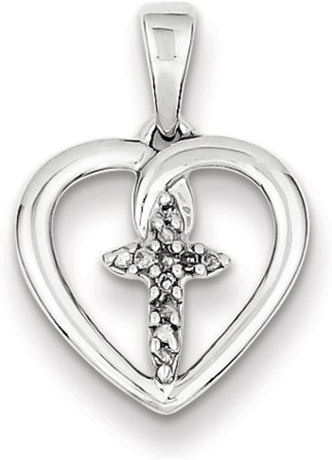 Belle Amore Sterling Silver Diamond Cross in Heart Pendant