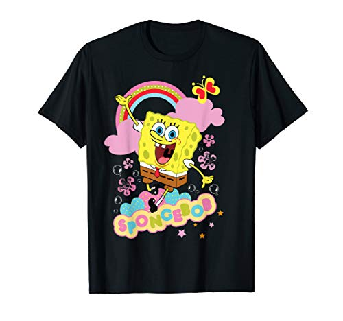 SpongeBob SquarePants Flowers And Rainbow T-Shirt