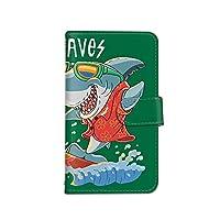 [bodenbaum] Galaxy A32 5G SCG08 手帳型 スマホケース カード ミラー スマホ ケース カバー ケータイ 携帯 SAMSUNG サムスン ギャラクシー エーサーティツー ファイブジー au サメ 海 鮫 サーフィン d-406 (C.グリーン)