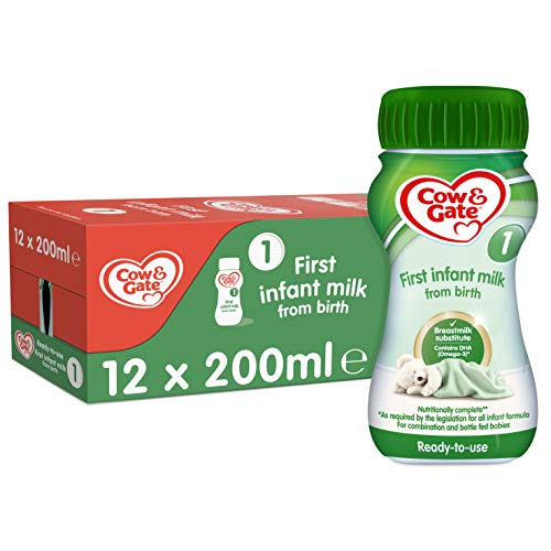 Cow & Gate 1 First Infant Baby Milk Ready to Use Liquid Formula, from Birth, 200ml (Pack of 12)
