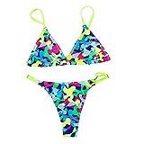 Aiserkly Damen Sexy Push Up Bikini Sets Liner BH Bademode Blumenmuster Badeanzug Strandbadebekleidung Dreieck Unterhosen Triangle Oberteil Badeanzüge Blau M