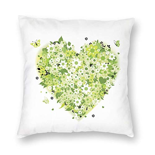 GULTMEE Floral Heart Design Summer Elements Love Valentines Day Inspired Square Printed Cotton Cushion Cover,Throw Pillow Case, Slipover Pillowslip for Home Sofa Couch Chair Back Seat, 18x18 in