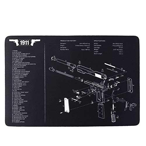 """Pinty Handgun Cleaning Mat Detailed Pistol Diagram & Assembly Instructions Thick & Durable Oil Resistant & Waterproof Sturdy Rubber Material Protective Mat for Gun Accessories, 17""""x11"""""""