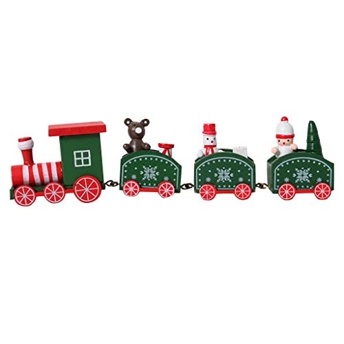 Baiggooswt Christmas Ornaments Wooden Four-Section Train Track Festival Decoration Children's Toy Gift Home Decor (Green)