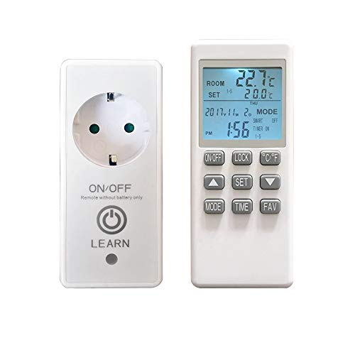 VIESTA TH15 Funk Thermostat + Timer-Fernbedienung für Infrarotheizung, Elektroheizung und Glas Heizpaneele, LED Thermostatstecker, Steckdosenthermostat bis max. 4000W