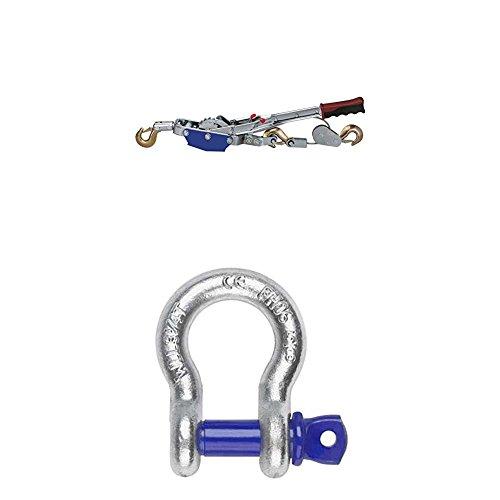 Kerbl 37117 Seilzug mit Ratsche 4 Tonnen Seil Ø 6 mm/3 m + Slackstar 71039 Slackline Hardware unite, Tragfähigkeit 3250 kg