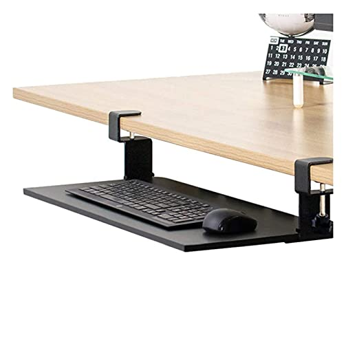 Bandeja de teclado económica con riel silencioso para productos de oficina, cajón de montaje en escritorio debajo de la mesa con sistema de montaje de abrazadera en C sin tornillos en el escritorio