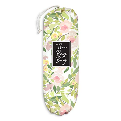 Flower Plastic Bag Holder Floral Pattern Grocery Shopping Bags Carrier Storage Organizer Dispenser Home Kitchen LaundryRoom Decor Gift for Housewarming Thanksgiving Christmas Extra Large(23' x 9')