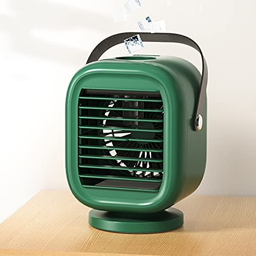 SUNDAY HOME Portable Air Cooler Fan Oscillation With 3 Wind Speeds, Personal Air Conditioner Mini Air Cooler With Water, Small Evaporative Air Cooler 2000mAh Battery Operated (Color : Green)