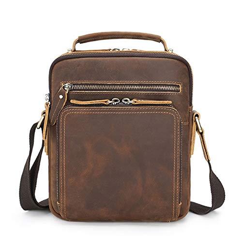 Small Shoulder Messenger Bag for Men Handbag, Men's Small Messenger Bag Tablet Side Bag Vintage Leather Shoulder Bag Crossbody Satchel Handbag for Work School Business Travel Unisex Lightweight Casual
