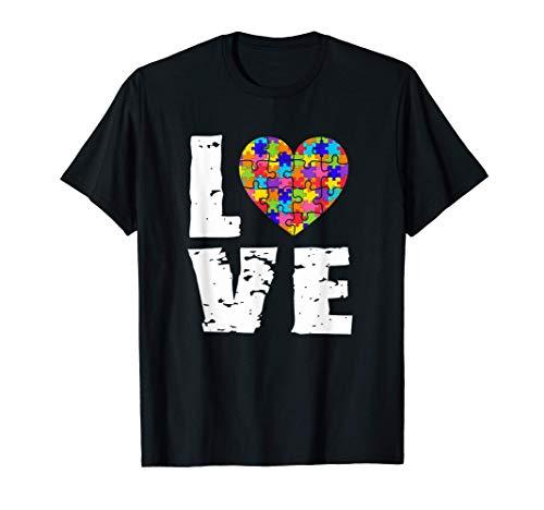 Concienciación sobre el autismo Amor Rompecabezas Corazón Camiseta