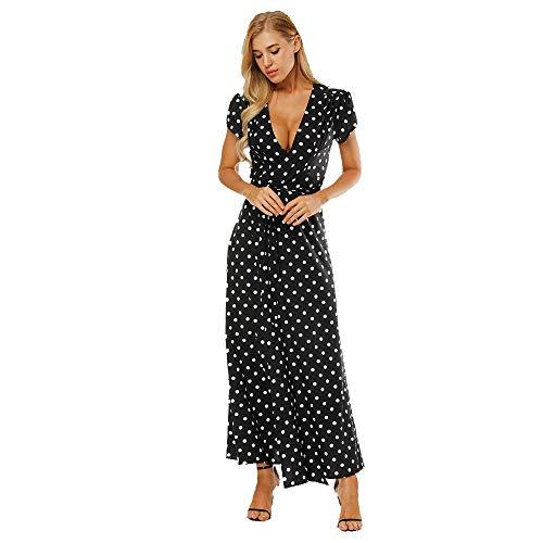 opdamyi Mujer Vestido de Verano Vestido Maxi Irregular Vestido de cóctel con Cuello en V Más tamaño Vestido de Noche Vestido Informal Falda Larga Vestidos de Playa para de Manga Corta Boho Bohemio