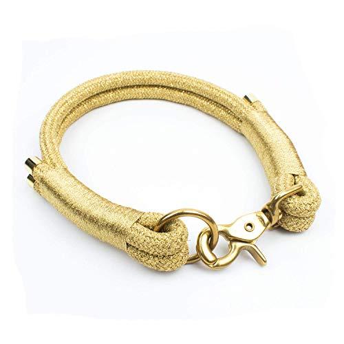 Hunde Halsband in Gold (Luxus Edition) mit goldenen Endkappen & Scherenkarabinern