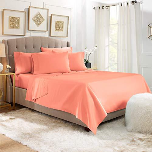 Juego de sábanas de algodón egipcio de 4 piezas ecológicas de la serie 1200 (sábana encimera + sábana bajera ajustable de 48 cm de profundidad + 2 fundas de almohada), sábanas transpirables cepilladas