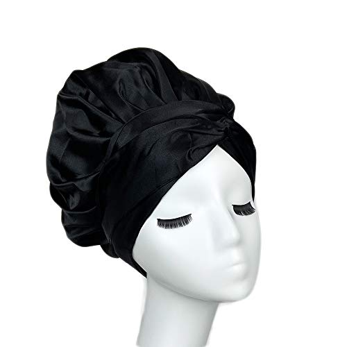Cospack Easy Headwrap Satin Lined Hair bonnet Double Layers With Two Straps for Women Long Curly Hair/Braids For Sleeping Head Scarf Head Wrap(Black)