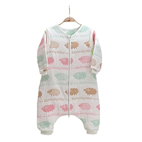 EsTong Baby Toddler Cotton Sleep Bag and Sack Detachable Sleeve Wearable Blanket Colorful Sheep Large