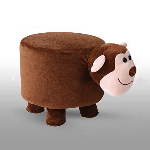Wooden Animal Footstool,Paseo Tapizado-en El Asiento Acolchado Otomano con Cubierta Extraíble,Cartoons Shoe Bench para Living Room,Niños's Habitación-Pequeño Mono 25x28cm(10x11inch)
