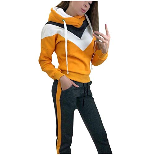 Hemlock Women Two Piece Outfits Sports Set Fleece Tracksuit Long Sleeve Hooded Sweatshirt Pullover and Sweatpants Joggers Yellow