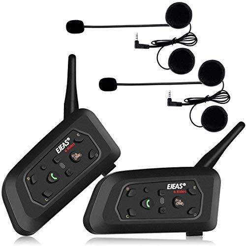 OKEU V6 Pro 1200 Meter Vollduplex Bluetooth Intercom Motorrad Helm Headset Intercom, wasserdichtes winddichtes Headset, für Radfahren, Skifahren, Bergsteigen,Konzert (2P)