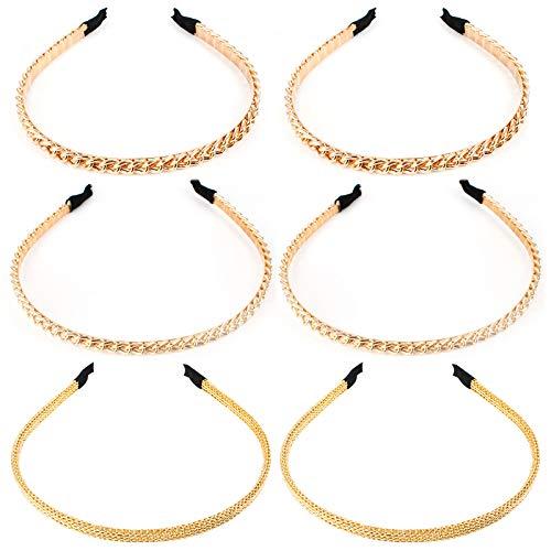 Jubaopen 6 Stück Metall Haarreifen Elastisches Haarband Haarreife Vintage Schmale Haarreif Mädchen Retro Gold Ketten Haarreifen Stirnbänder Anti-Rutsch Zähne (3 Stile)