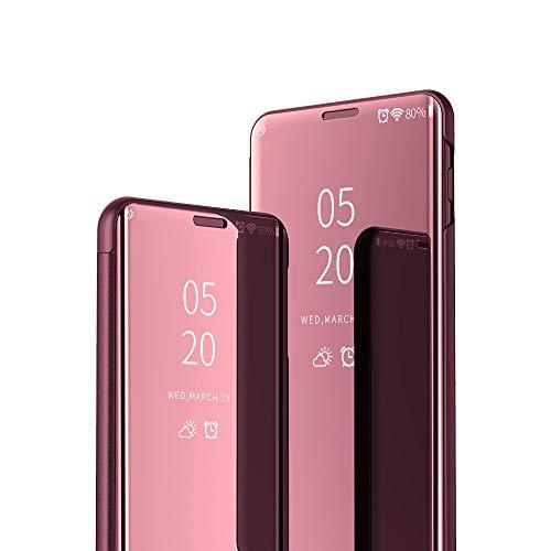 JZ [Design espelhado][Suporte] Capa compatível com Samsung Galaxy S8 Plus/S8+ Smart Mirror Wallet Flip Cover - Ouro rosa
