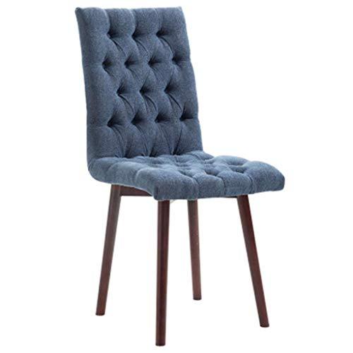 Dongy - Silla moderna de tela de comedor, salón de estilo escandinavo azul/madera, restaurante, cocina, sillón salón de hotel (color: azul)