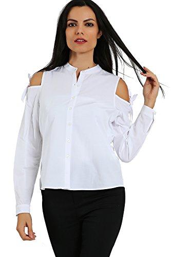 Dames hemd schoudervrije blouse wit grijs blauw