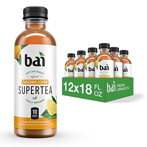 Bai Iced Tea Tanzania Lemon Antioxidant Infused Supertea Crafted with Real Tea Black Tea White Tea 18 Fluid Ounce Bottles 12 Count