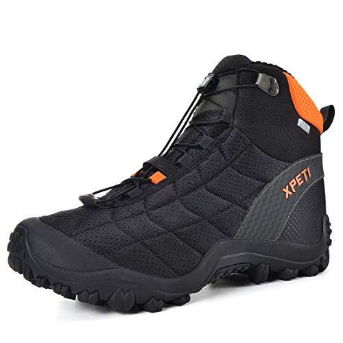 XPETI Hiking Boots Men Lightweight, Mens Walking Boots Shoes Waterproof Trainer Trekking Hiker High Rise Winter Junoir Hill Fashion Black Orange Size 10.5