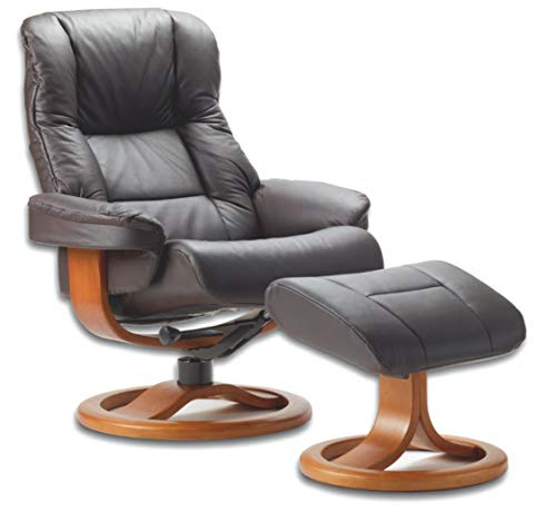 Fjords Loen Small Ergonomic Recliner Chair with Ottoman in Havana Dark Brown NL 120 Nordic Line Leather with a Cherry Wood Stain Base
