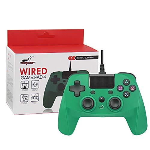 ZUEN Dispositivo De Juego USB con Cable para La Conexión Más Estable Juego Suave Juego, para Gamepads PS4 PS3 PC con Doble Impacto Almohadillas De Contacto Giroscopio,Verde