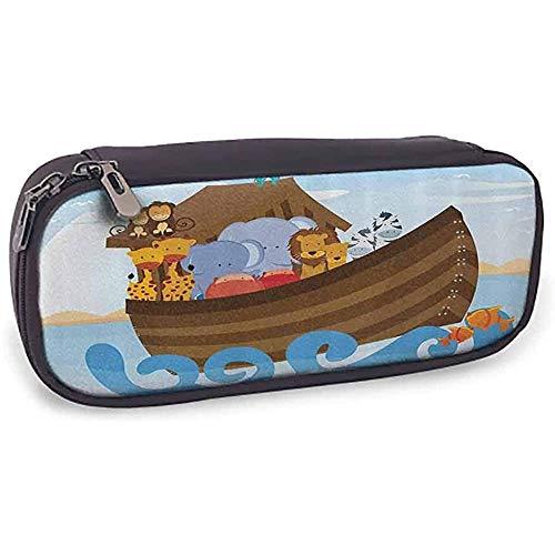 Reißverschluss-Federmäppchen Noahs Arche Verschiedene wilde Tiere auf Noahs Arche Boot Fröhliche Geschichte Charaktere lustiges Bild mit Fach