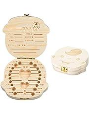 Aitsite 木製 乳歯ケース 乳歯入れ 乳歯ボックス 乳歯箱 日本語表記 ピンセットと乾燥用綿付き(女の子)