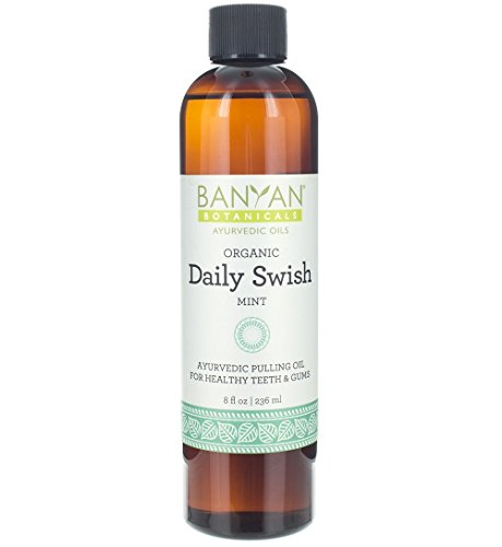 Banyan Botanicals Daily Swish Mint – Organic Ayurvedic Oil Pulling Mouthwash with Coconut Oil – for Oral Health, Detoxification, Healthy Teeth, & Gums* – 8oz – Non GMO Sustainably Sourced Vegan
