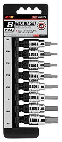 Performance Tool W38870 8 Piece 3/8 Drive SAE Hex Bit Socket Set 1/8