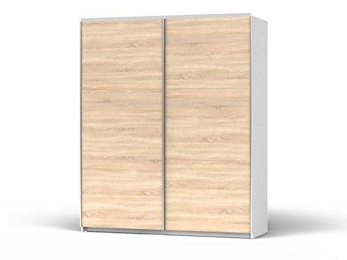 SMARTBett GmbH Schuifdeurkast, kledingkast, kast met spiegeldeuren, kleur breedte 183 cm, wit/eiken Sonoma