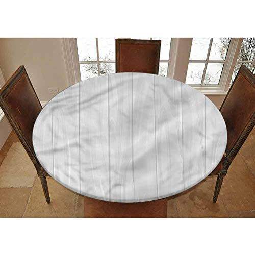 LCGGDB White Elastic Edged Polyester Fitted Tablecolth -Country Farm House Warehouse- XL Large Round Fitted Table Cover - Fits Tables up to 63' Diameter,The Ultimate Protection for Your Table