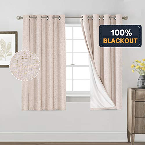 Primitive Textured Linen 100% Blackout Curtains for Bedroom/Living Room Energy Saving Window Treatment Curtain Drapes, Burlap Fabric with White Thermal Insulated Liner (52 x 54 Inch, Natural)