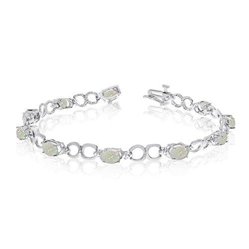 14 K oro blanco oval Opal y diamante de la pulsera
