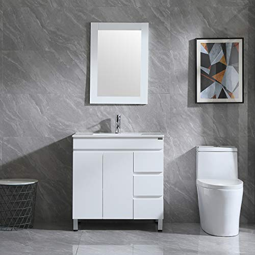 Walsport Bathroom Vanity Sink Combo with Mirror Modern Cabinet Basin Vessel Sink Faucet Combo Set, White 31.5''