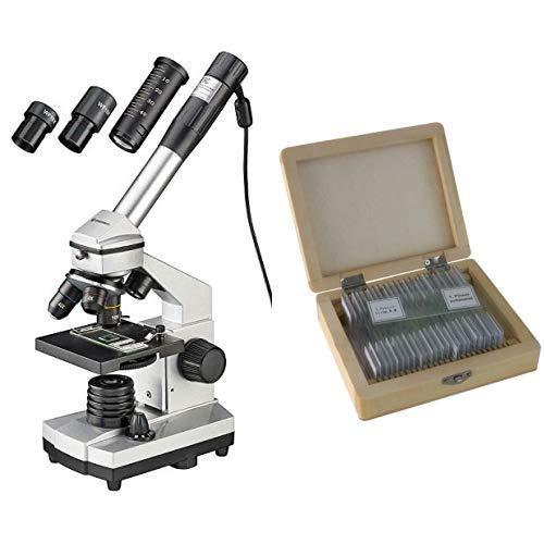 Bresser junior Mikroskop Set Biolux DE 40x-1024x für Kinder und Erwachsene mit hoher Vergrößerung inklusive USB Kamera und umfangreichem Zubehör & Dauerpräparate für Mikroskop (25-er Stück)