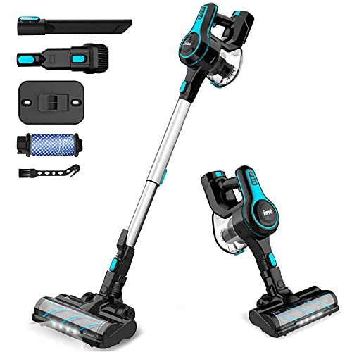 INSE Cordless Vacuum Cleaner, 6 in 1 Powerful Suction Lightweight Stick Vacuum with 2200mAh Rechargable Battery, Up to 45min Runtime, for Home Furniture Hard Floor Carpet Car Pet Hair-N5 Sky Blue