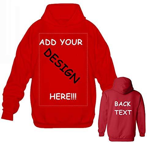 Men Custom Jersey Hoodies - Design Your Own Hoodie - Personalized Pullover Team Sweatshirts Red