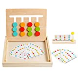 Montessori Preschool Learning Toys Slide Puzzle Board Color Shape Sorting Matching Brain Teasers Logic Game Wooden Education Toys Gift for Toddlers Kids Child Boys Girls Age 3 4 5 6 7 Years Old