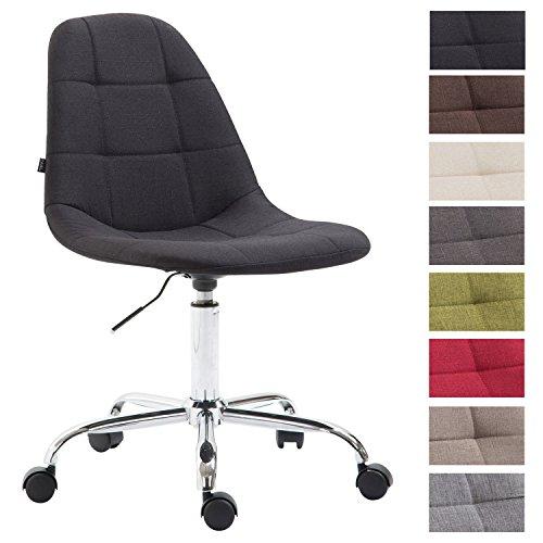 CLP Bürostuhl Reims mit Stoffbezug | Schreibtischstuhl mit gestepptem Sitz | Höhenverstellbarer Arbeitsstuhl mit Metallgestell erhältlich Schwarz