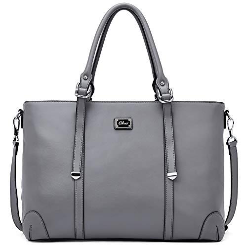 Damen Laptoptasche Handtasche Echtleder 15.6 Zoll Designer Tote Vintage Aktentasche Frauen Arbeitstasche Schultertasche groß Kapazität Businesstasche Grau